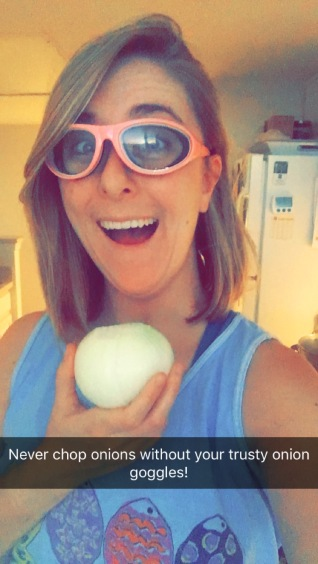 Being an adult = cooking with onion goggles